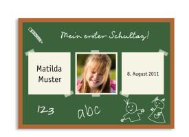 Postkarte zur Einschulung Tafel (mit zwei Fotos) Grün