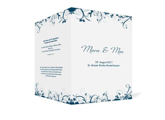 Außenansicht, Klappkarte zur Hochzeit (Kirchenheft), Motiv Miami, Farbversion: blau
