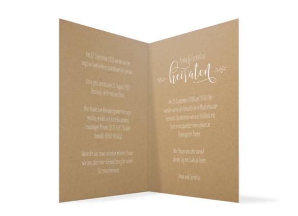 Hochzeitseinladung, Motiv: Blumenkranz Natural, Innenansicht, Farbvariante: Weiss