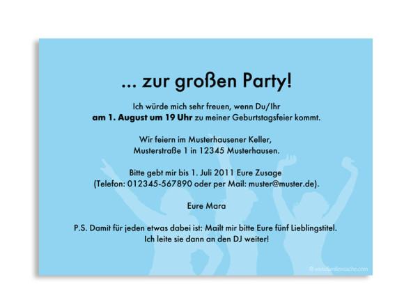 Rückseite, Einladung zum Geburtstag, Motiv 70s, Farbversion: blau