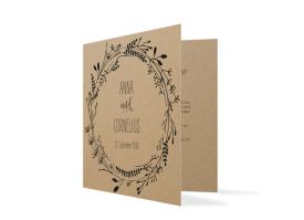 """Einladungskarten zur Hochzeit """"Blumenkranz natural"""" schwarz"""