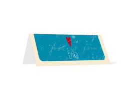 Tischkarten Hochzeit Vintage Heart (Klappkärtchen) Blau