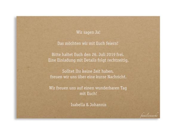 Save-the-date (Postkarte), Motiv: Gent Natural, Rückseite, Farbvariante: weiss