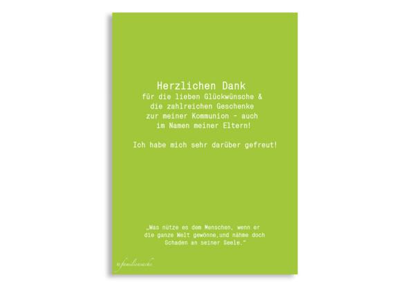 Dankeskarten zur Kommunion Felia/Frank, Rückseite der Farbversion: apfel