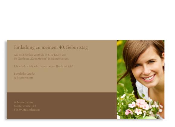 Rückseite, Einladungs-Postkarte zum Geburtstag, Motiv Rokko, Farbversion: beige/braun