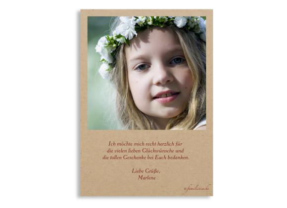 Danksagungskarten zur Kommunion, Motiv Nature, Postkarte A6, Rückseite, Farbversion:bordeaux