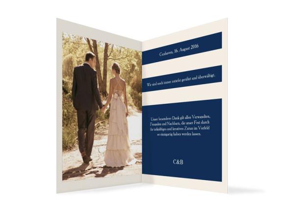 Dankeskarten zur Hochzeit Monaco, Innenansicht der Farbversion: blau