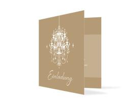 Einladungskarte zum Geburtstag Gala (Klappkarte quadratisch) Beige