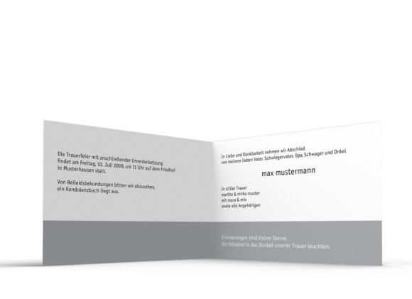Innenansicht, Trauerkarte Motiv Wald, Farbversion: braun/weiß