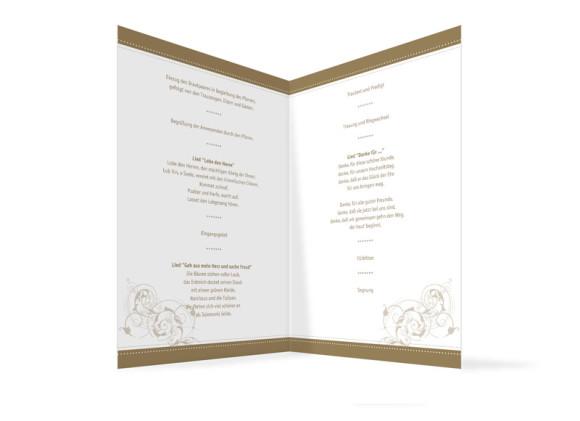 Innenansicht, Klappkarte zur Hochzeit (Kirchenheft), Motiv Paris, Farbversion: beige
