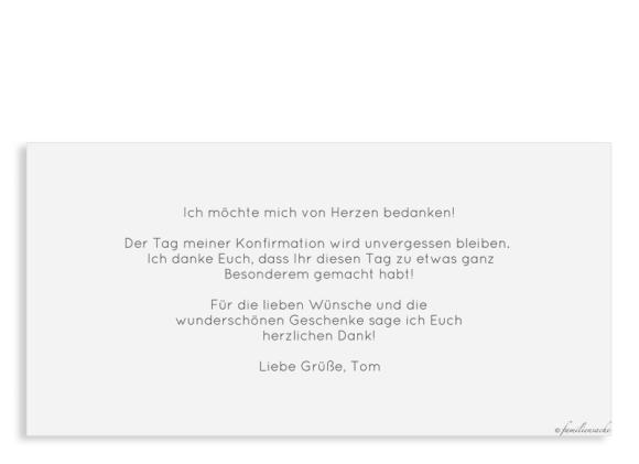 Danksagung Konfirmation (Postkarte DL mit Fotos), Motiv: Weg, Rückseite, Farbvariante: hellblau