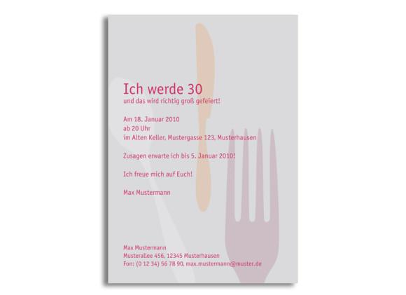 Rückseite, Einladung zum Geburtstag, Motiv Besteck, Farbversion: grau/pink