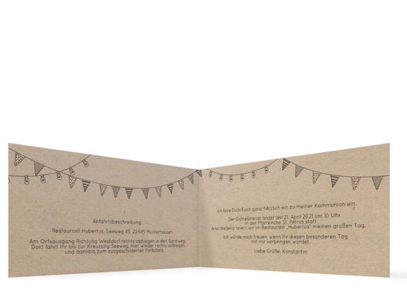 Kommunionseinladung (Klappkarte mit Foto), Motiv: Wimpelchen, Innenansicht, Farbvariante: schwarz