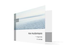 Trauerkarten Meer (Klappkarte C6) Blau/Weiß