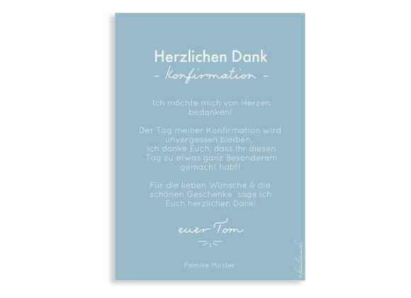 Danksagung Konfirmation als Postkarte A6 hoch, Motiv: Blickfang, Rückseite, Farbvariante: hellblau