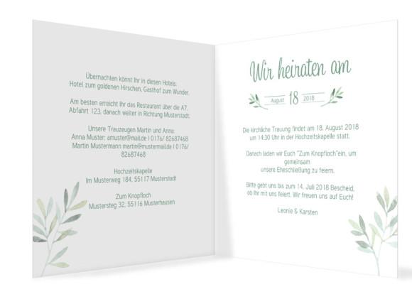 Hochzeitseinladung Blätterkranz, quadr. Klappkarte, Innenansicht in grün