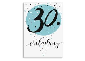 Einladung zum 30. Geburtstag Konfetti Aqua
