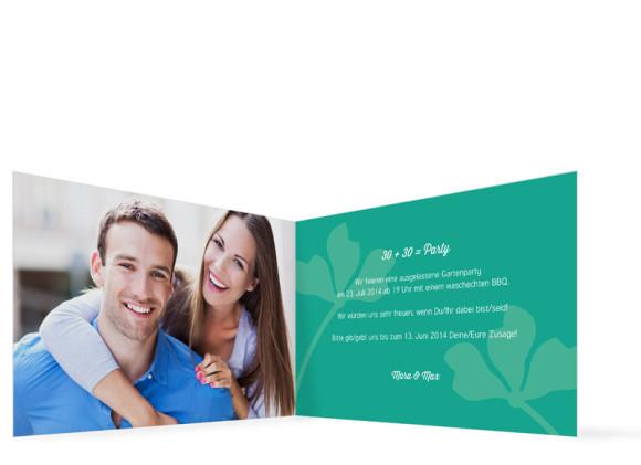 Geburtstagseinladungen Growing Fresha, Innenansicht der Farbversion: grün/türkis