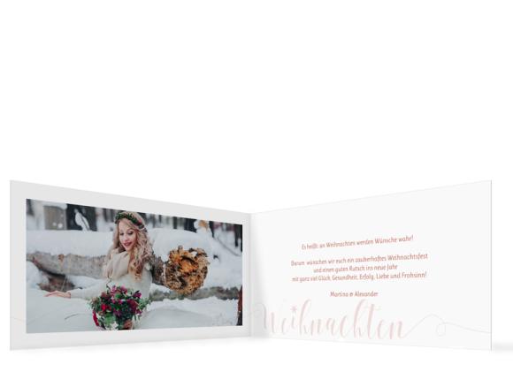 Weihnachtsgrußkarten (Klappkarte DIN Lang mit sechs Fotos), Motiv: Big Letter, Innenansicht, Farbvariante: apricot
