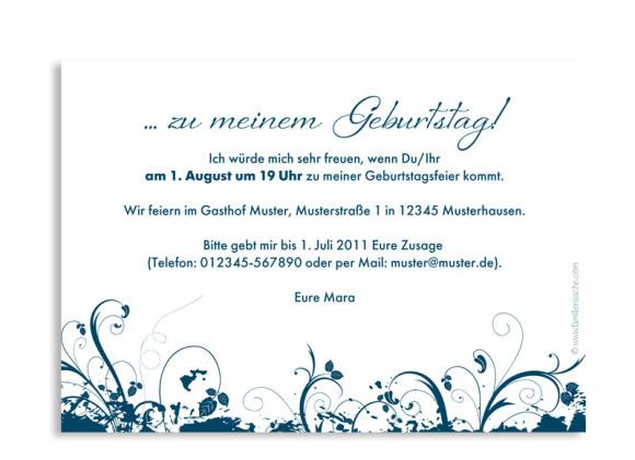 Rückseite, Einladung zum Geburtstag, Motiv Flowers, Farbversion: blau