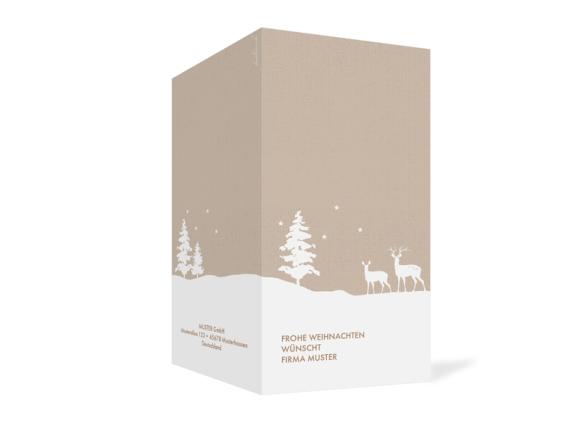Klappkarte im Hochformat zu Weihnachten, Motiv: Winterlandschaft FW, Aussenansicht, Farbvariante: beige