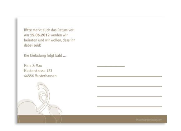 Rückseite, Einladungs-Postkarte zur Hochzeit, Motiv Oslo, Farbversion: beige