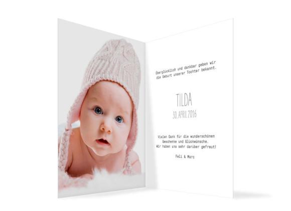 Babykarten Foto, Innenansicht in weiß
