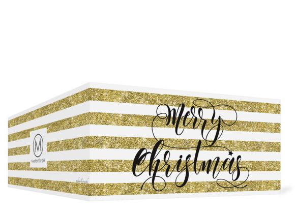 Firmen-Weihnachtskarte Copper in gold, Außenansicht
