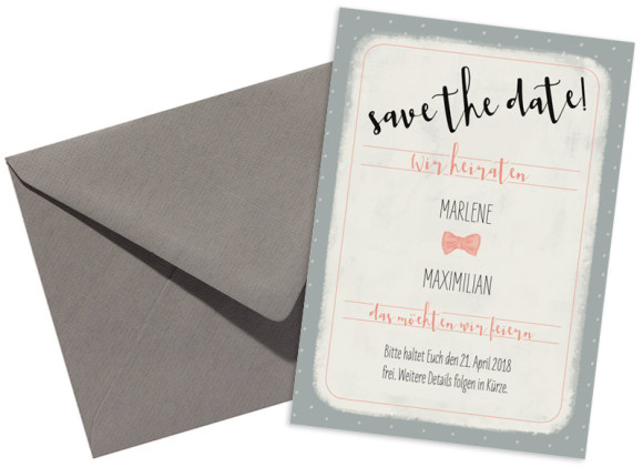 Save the Date-Karte Sweet Polka, Briefhülle in apricot