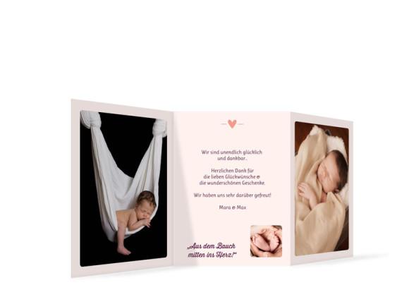 Karte zur Geburt (Leporello A6), Motiv: Estelle/Etienne, Rückseite, Farbversion: brombeer/apricot