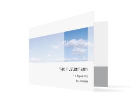 Trauerkarten Himmel (Klappkarte C6) Blau/Weiß
