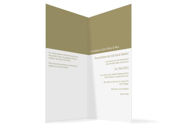 Innenansicht, Klappkarte zur Goldhochzeit (Einladung), Motiv Colour, Farbversion: beige