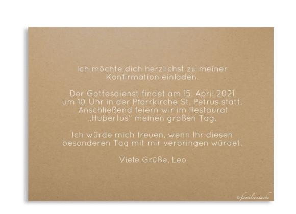 Einladung zur Konfirmation (Postkarte A6 ohne Foto), Motiv: Zweig Natural, Rückseite, Farbvariante: weiss