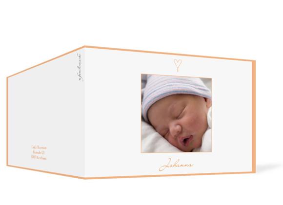 Außenansicht, Klappkarte zur Geburt, Motiv Johanna/Jacob, Farbversion: apricot