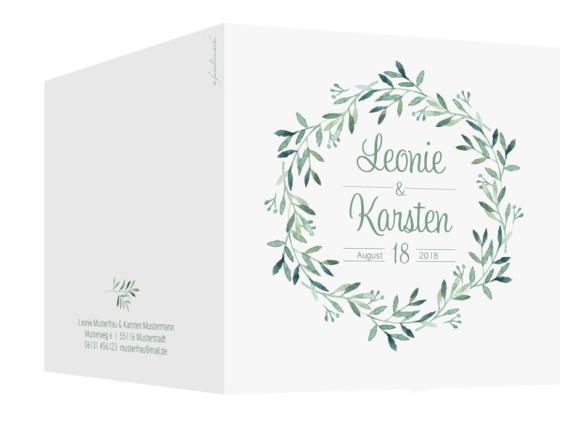 Hochzeitseinladung Blätterkranz, quadr. Klappkarte, Außenansicht in grün