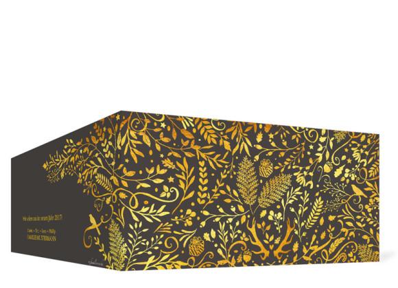 Weihnachtskarte Naturgold in anthrazit, Außenseiten