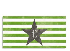 Einladungskarte Vintage Star zum 40. (Postkarte, mit 2 Fotos) Grün/Grau