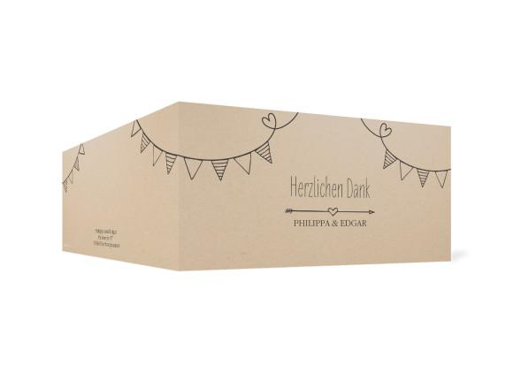 Danksagungskarte zur Hochzeit, Motiv: TImeline Cute, Farbe: Dunkelgrau, Ansicht: außen