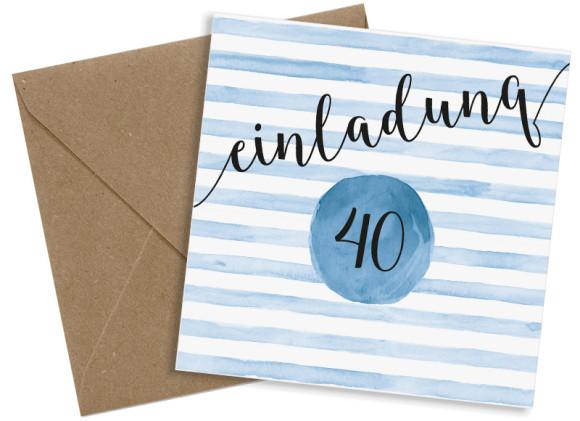 Einladung 40. Geburtstag, Motiv: Dots 'n Stripes, (quadratische Postkarte), mit Briefhülle, Farbvariante: dunkelblau