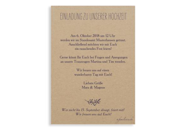 Einladung zur Hochzeit (Postkarte A6), Motiv: Nature, Rückseite, Farbvariante: aubergine