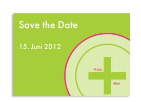 Save-The-Date-Hochzeitskarte A+B (Postkarte A6) Grün/Pink