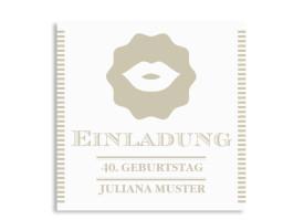 Einladungskarten Lady (quad. Postkarte) Beige