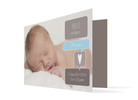 Geburtskarte Mathilda/Matteo (Klappkarte mit drei Fotos) Schlamm/Hellblau