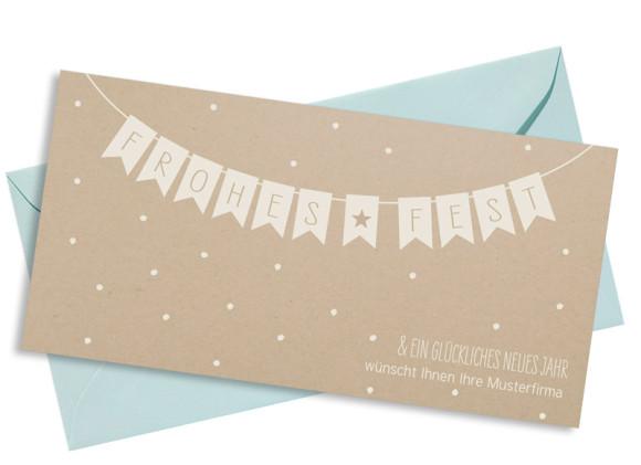 Firmen-Weihnachtskarte Weihnachtskette (Postkarte) mit Umschlag, Farbvariante: altweiß