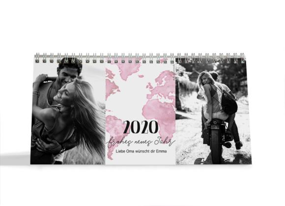 Choose your Pics Fotokalender, Motiv: Weltkarte, Innenansicht, Farbvariante: altrosa