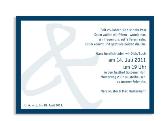 Rückseite, Einladungs-Postkarte zur Silbernen Hochzeit, Motiv Bern, Farbversion: blau