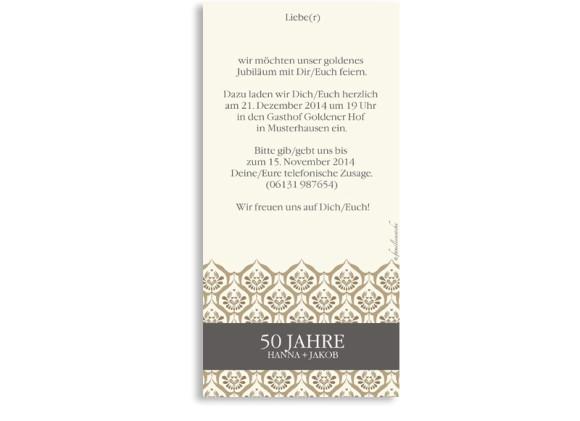 Einladungen Goldhochzeit Valencia, Rückseite der Farbversion: beige