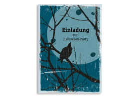 Einladungskarten zur Halloween-Party Birds Blau