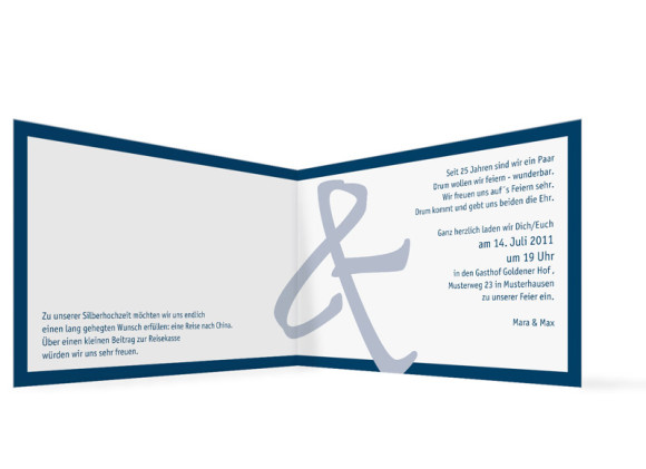 Innenansicht, Einladung zur Silbernen Hochzeit, Motiv Bern (ohne Foto), Farbversion: blau