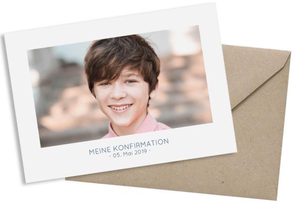 Konfirmationskarte als Postkarte A6 ohne Foto, Motiv: Ausblick, mit Briefhülle, Farbvariante: dunkelblau